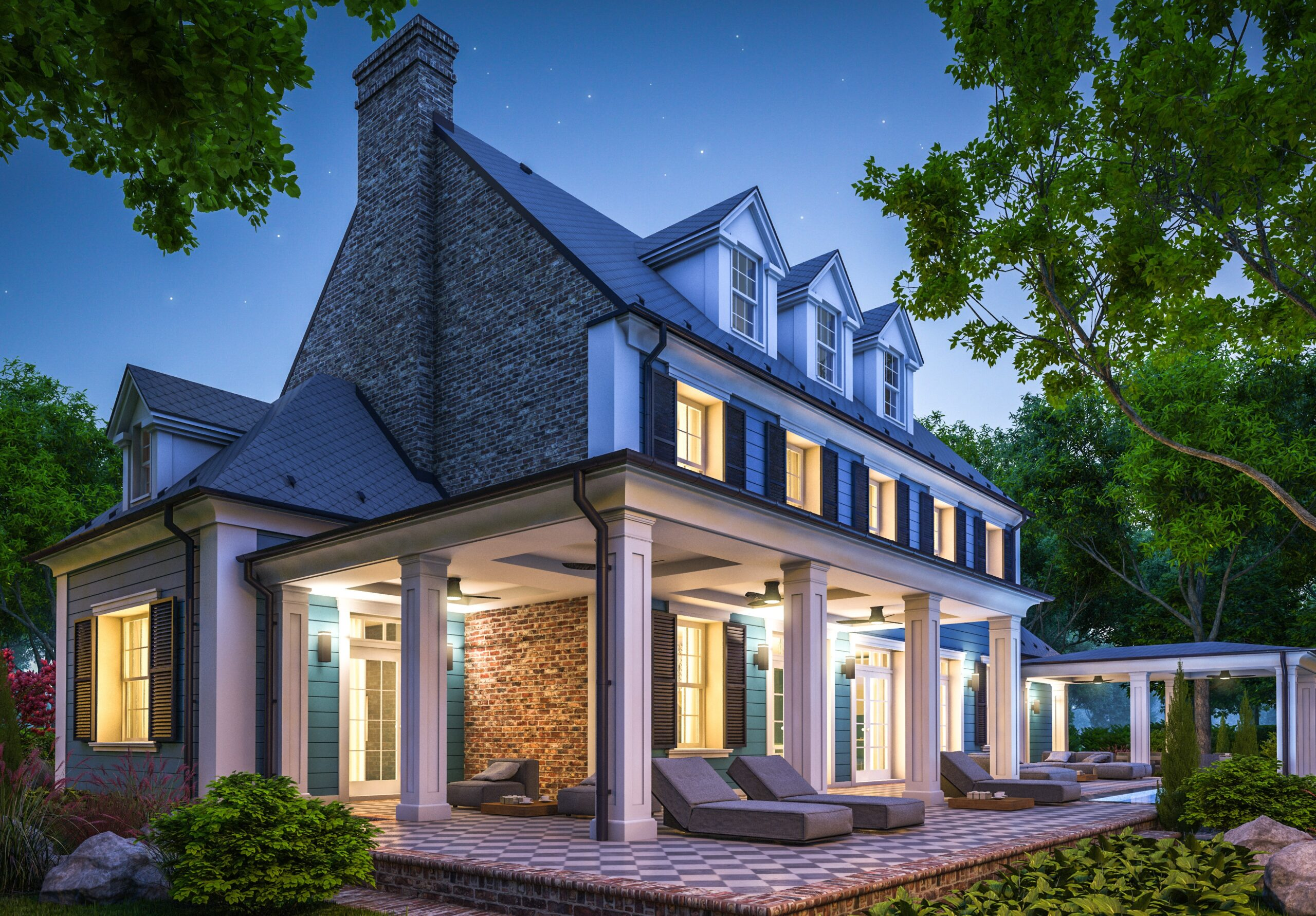 3d,Rendering,Of,Modern,Cozy,Classic,House,In,Colonial,Style